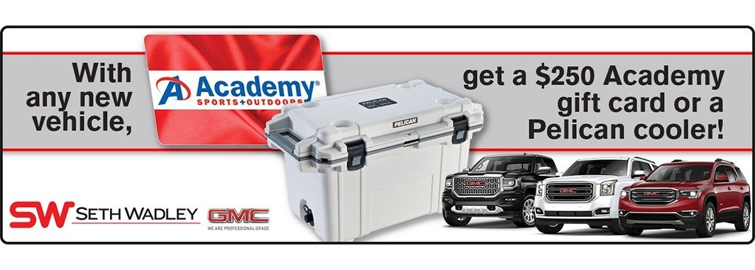 $250 Academy Sports Gift Card or Pelican Cooler with any Vehicle Purchase
