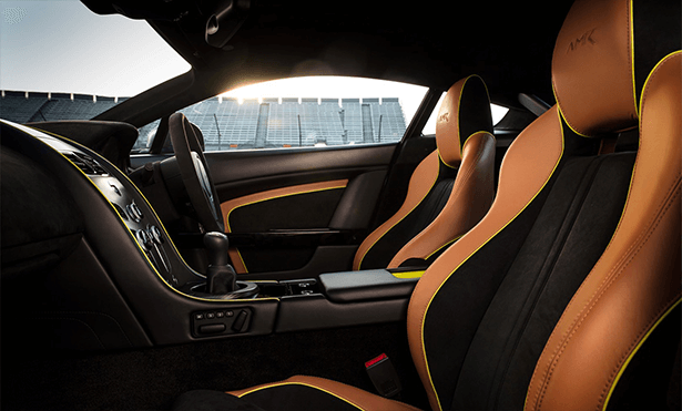 tan and black interior of the all new Aston Martin DB11 AMR