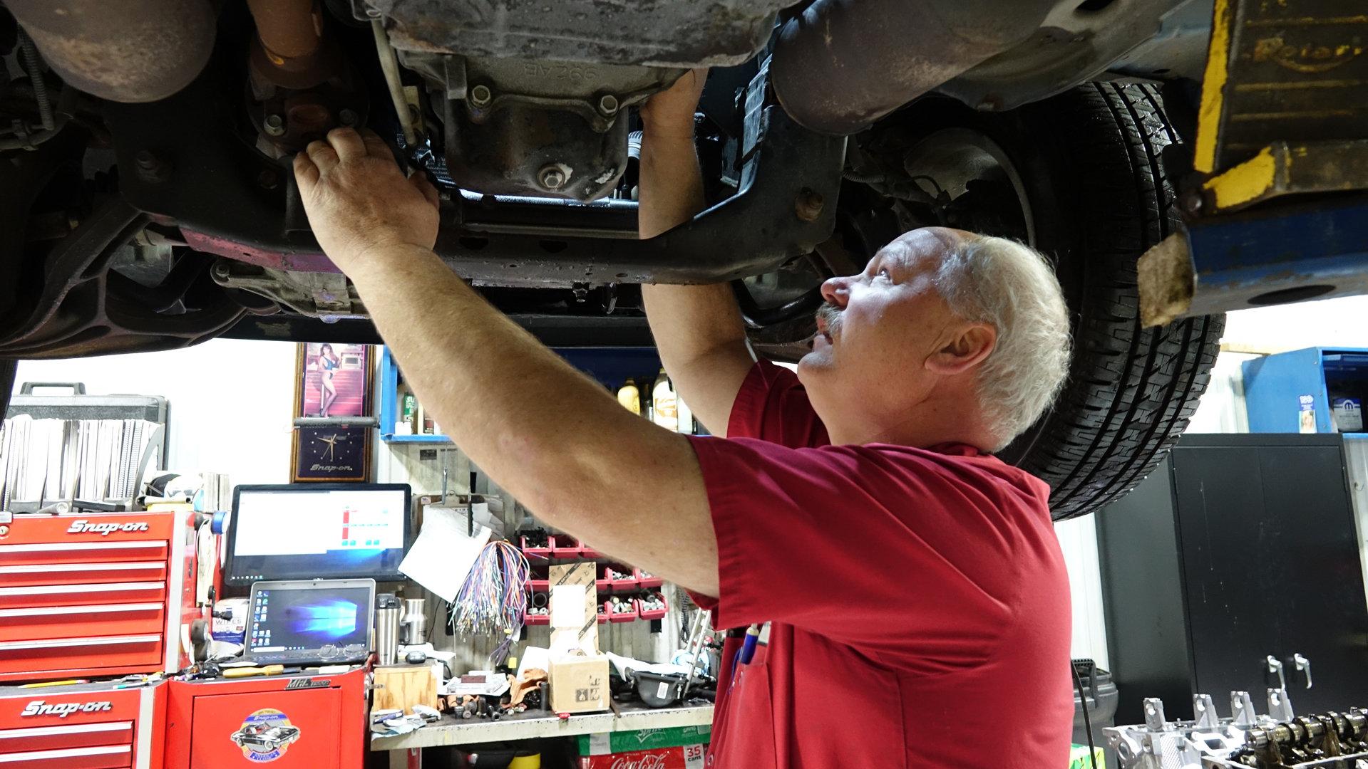 working under car