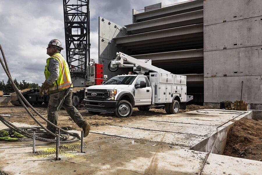 Mullinax Ford Super Duty truck on job site