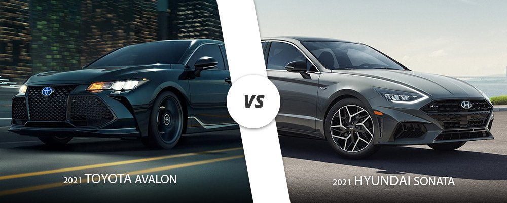 Black 2021 Toyota Avalon vs. silver 2021 Hyundai Sonata here on Long Island, NY.