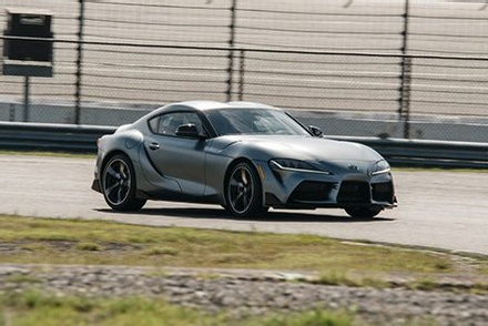 Silver 2021 Toyota Supra on a race course on Long Island, NY.