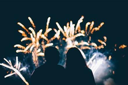 Fireworks exploding over Long Island, NY.