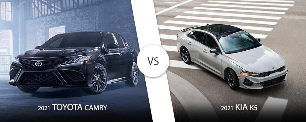 Black 2021 Toyota Camry vs. White 2021 Kia K5 on Long Island, NY.