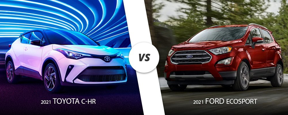 White 2021 Toyota C-HR vs red 2021 Ford EcoSport on Long Island, NY.