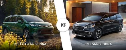 Green 2021 Toyota Sienna versus Black 2021 Kia Sedona on Long Island, NY.