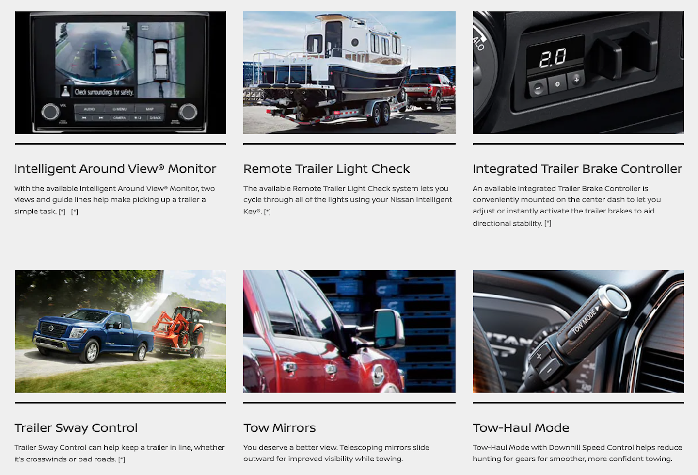 A description of the various towing features included with the Nissan Titan.
