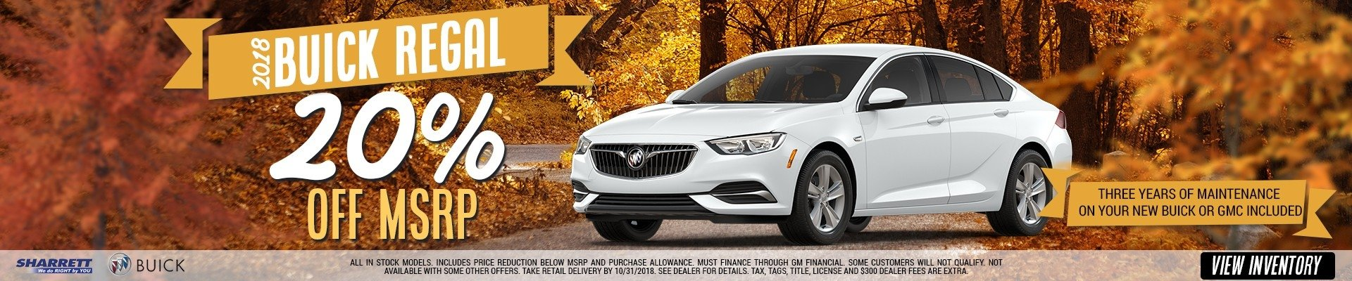 Get 20% off MSRP on the new 2018 Buick Regal