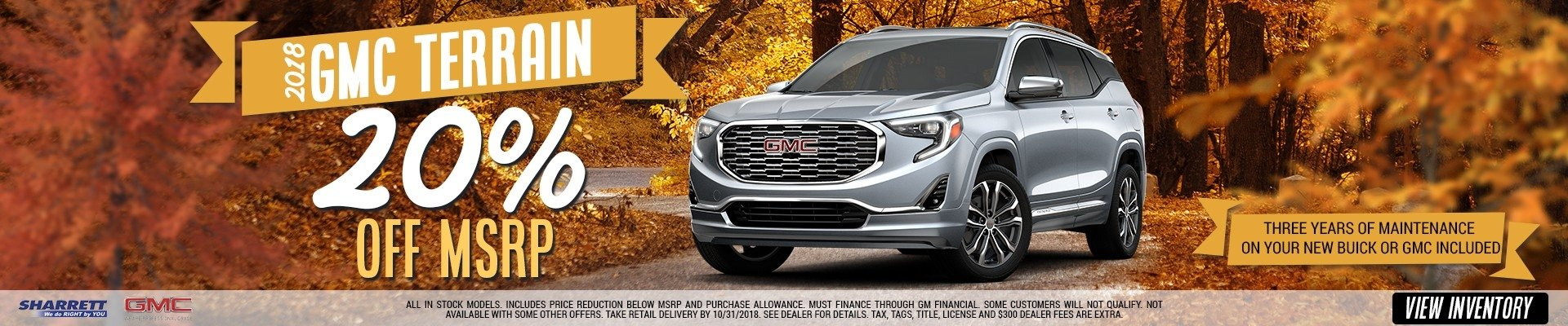 20% Off MSRP on the New 2018 GMC Terrain