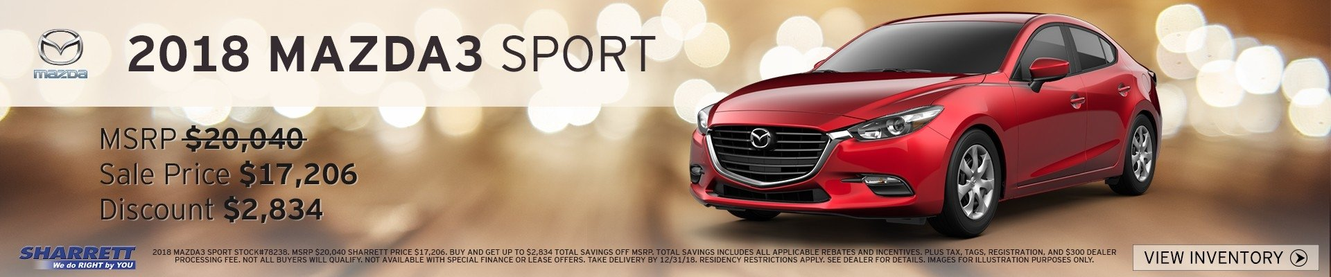 2018 Mazda3 Sport up to $2,834 off MSRP