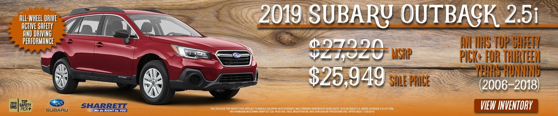 Get a 2019 Subaru Outback 2.5i for $25,949 at Sharrett Subaru of Hagerstown, MD