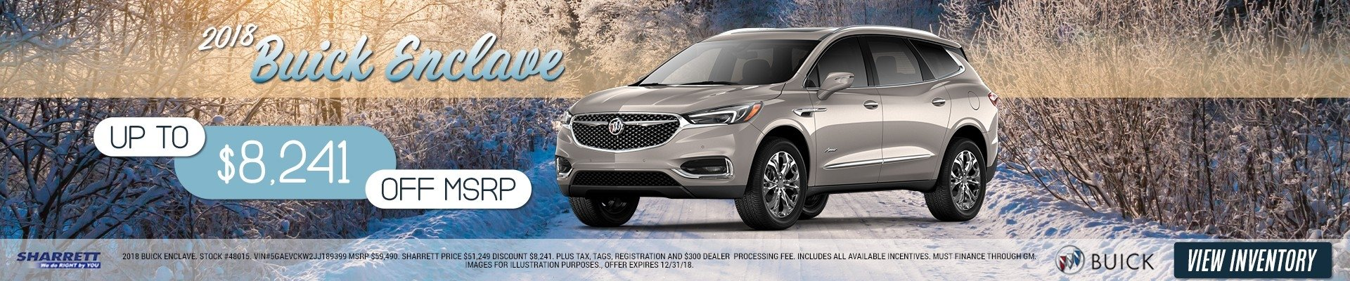 Up to $8,241 off MSRP on a 2018 Buick Enclave