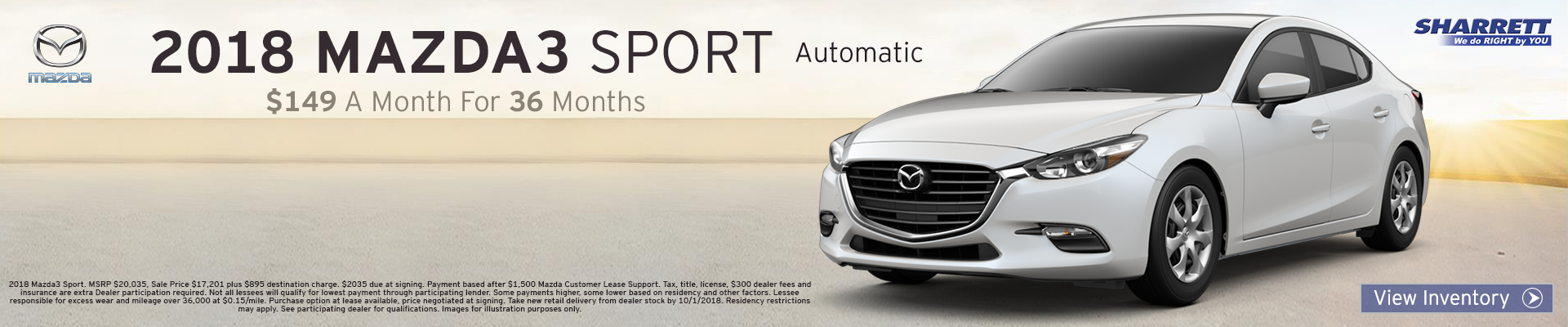 Lease a 2018 Mazda3 Sport for $149/mo for 36 months
