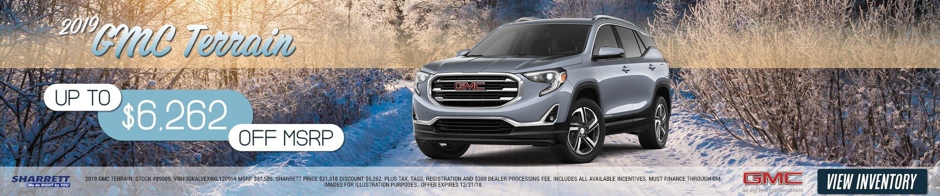 Up to $6,262 off MSRP on a 2019 GMC Terrain