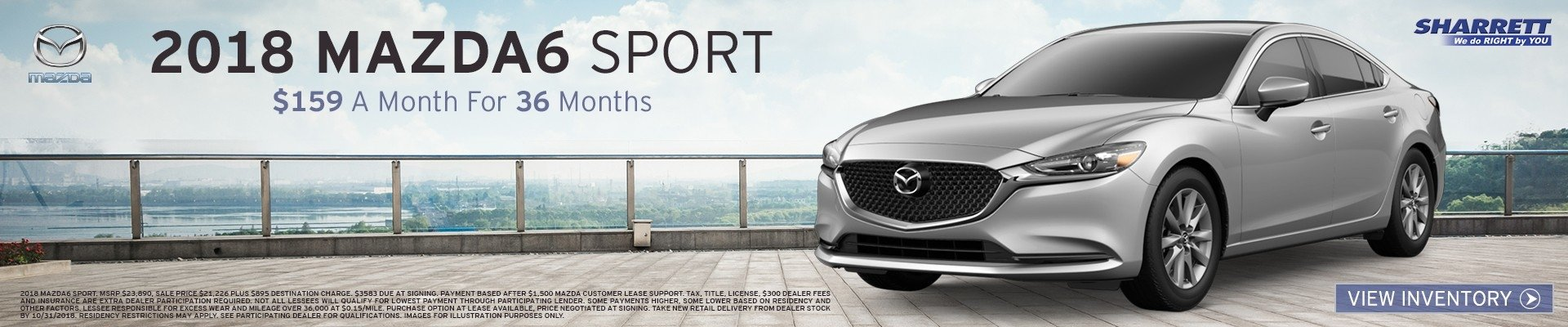Lease a 2018 Mazda6 Sport for $159/mo for 36 mos