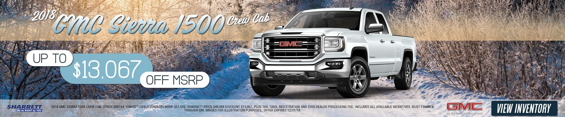 Up to $13,067 off MSRP on a 2018 GMC Sierra 1500 Crew Cab