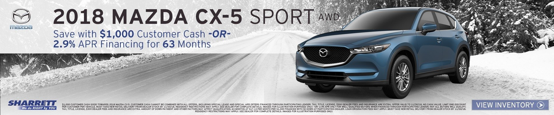 Get 2.9% APR financing for 63 months on a new 2018 Mazda CX-5 at Sharrett Mazda