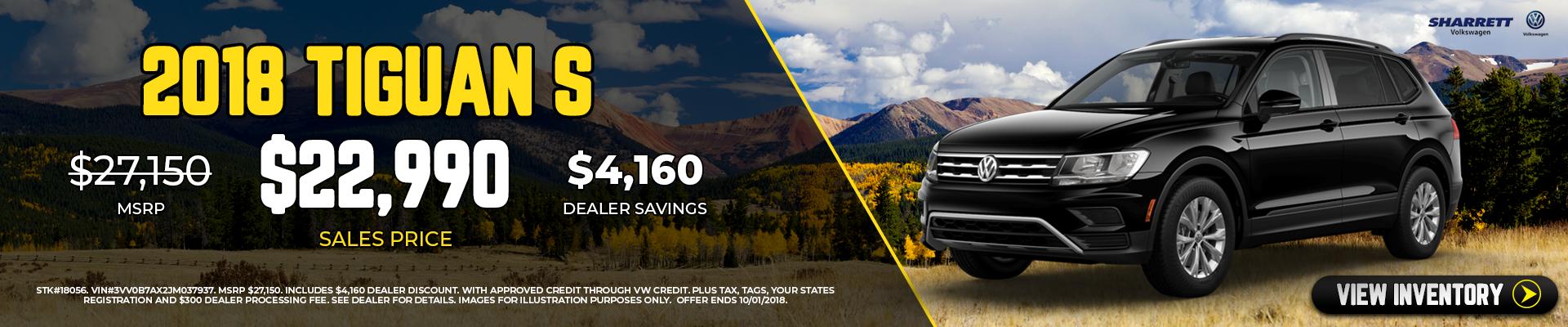 Get a new 2018 Tiguan S for $22,990 | Sharrett Volkswagen