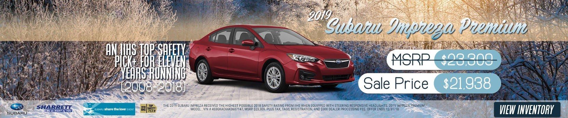 2019 Subaru Impreza Premium for $21,938
