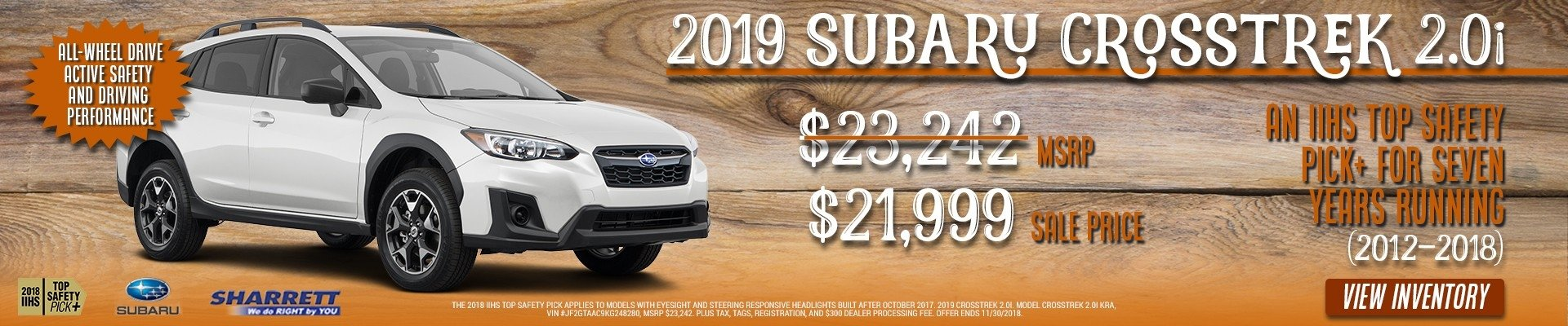 Get a 2019 Subaru Crosstrek 2.0i for $21,999 at Sharrett Subaru of Hagerstown, MD
