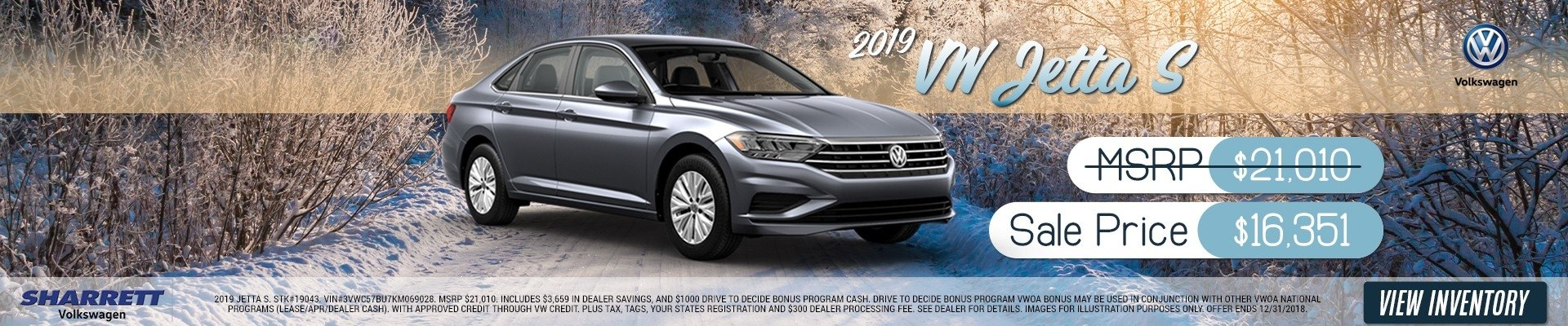 2019 VW Jetta S for $16,351