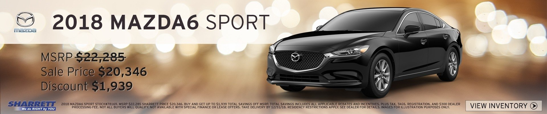 2018 Mazda6 Sport up to $1,939 off MSRP