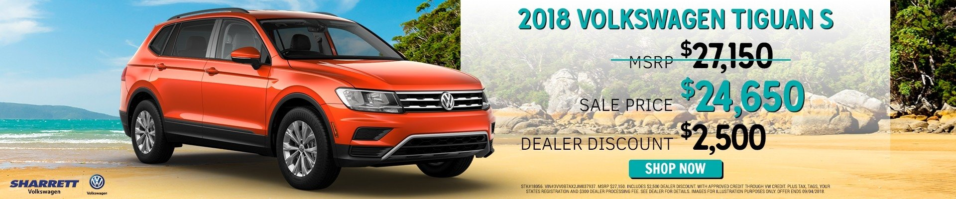 Save $2500 on a new 2018 VW Tiguan S | Sharrett Volkswagen