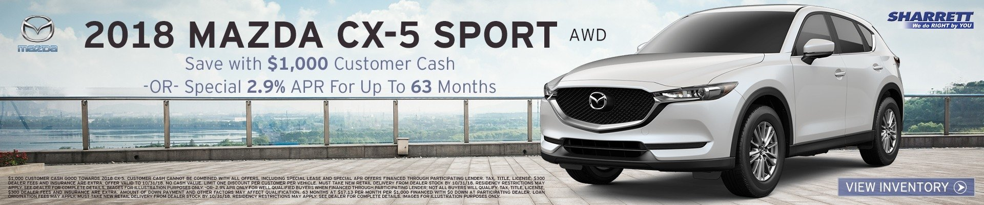 Get Special 2.9% APR for up to 63 mos on a new 2018 Mazda CX-5 Sport AWD