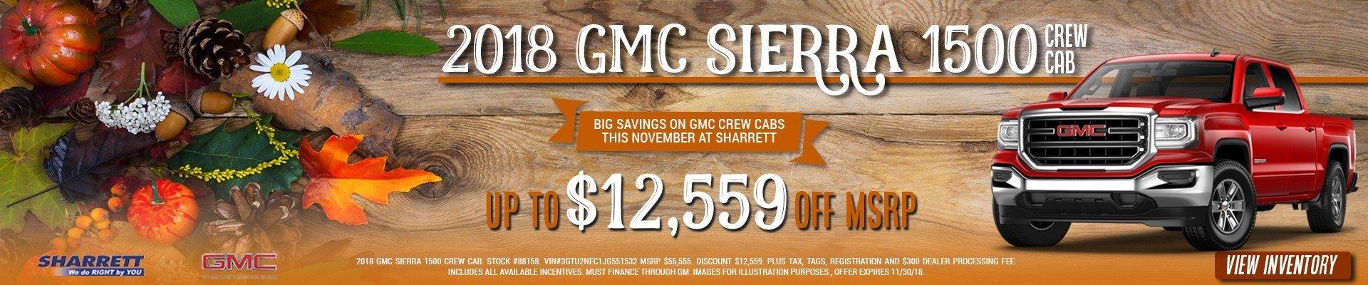 Get up to $12,559 off a new 2018 GMC Sierra 1500 Crew Cab at Sharrett Buick GMC