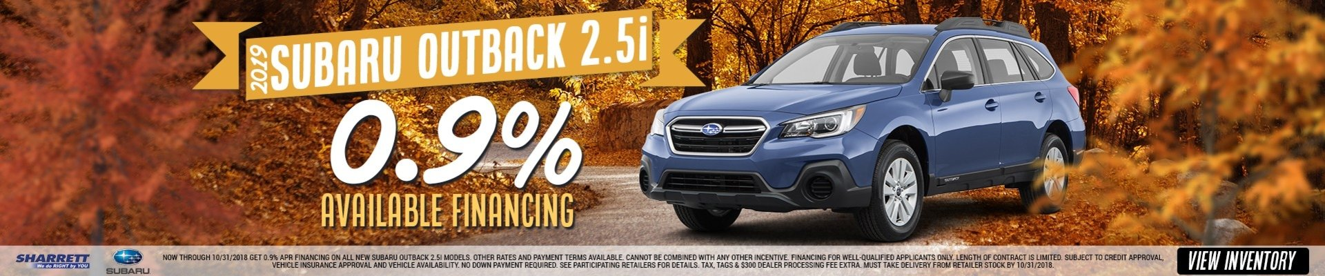 0.9% Available Financing on a 2019 Subaru Outback 2.5i