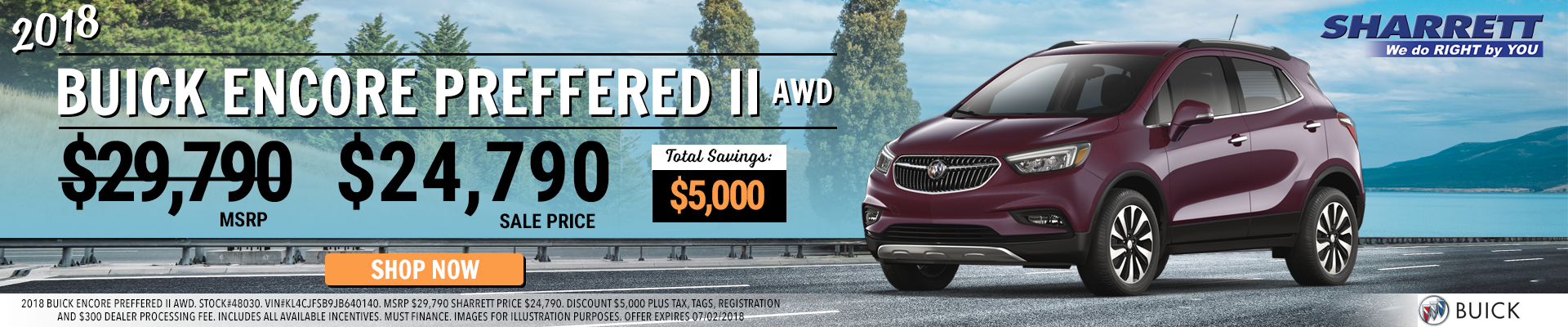 Save $5,000 on a New 2018 Buick Encore Preferred AWD