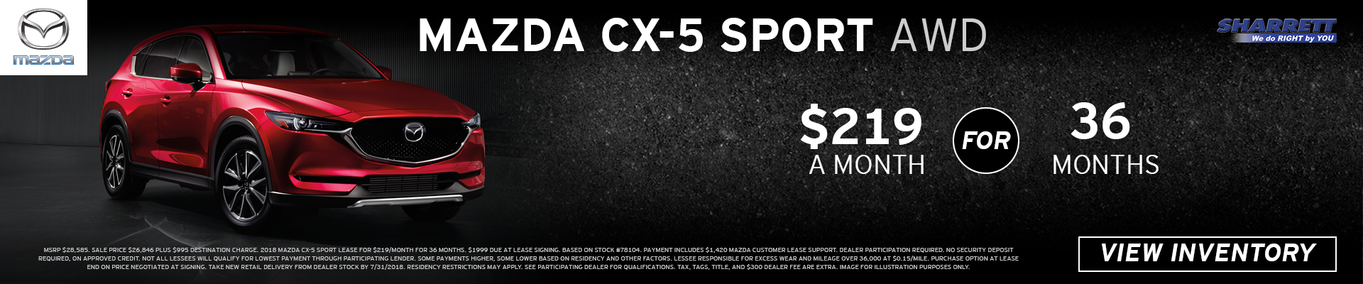 Lease a Mazda CX-5 Sport AWD for $219/mo for 36 months