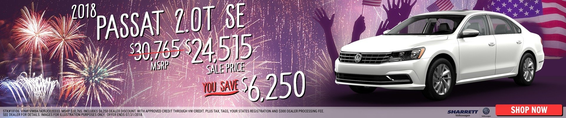 Save $6250 on a new 2018 Volkswagen Passat SE