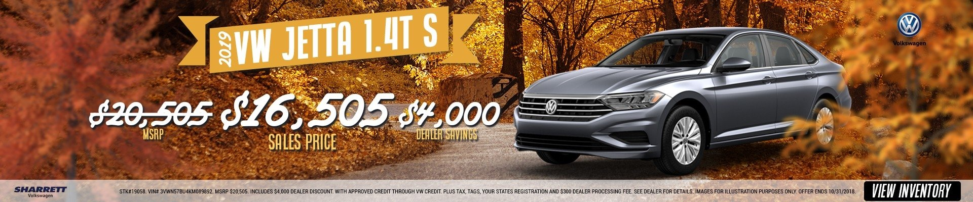 Save $4,000 on a new 2019 VW Jetta 1.4T S