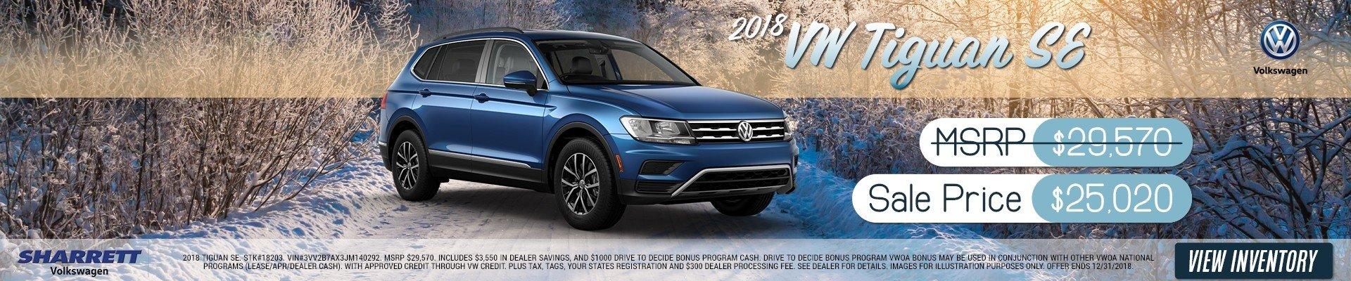 2018 VW Tiguan SE for $25,020