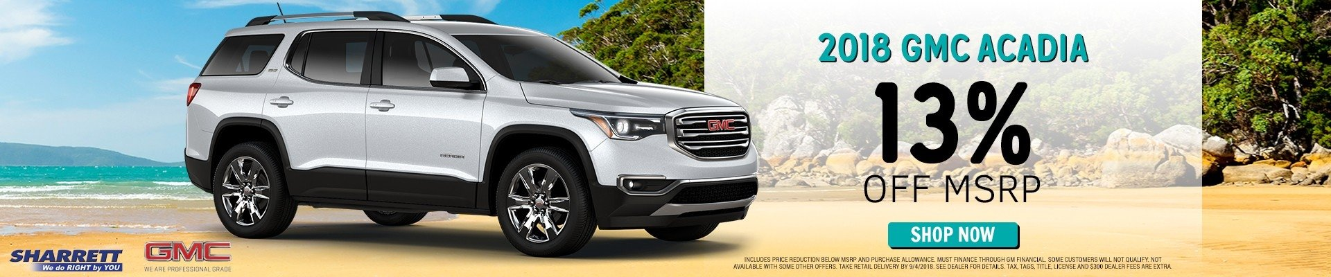 Get a 2018 GMC Acadia for 13% off MSRP | Sharrett Buick GMC