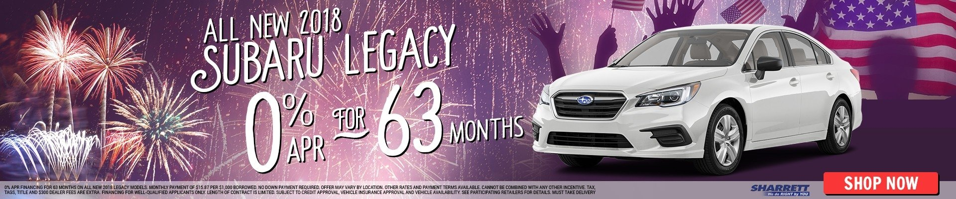 Get 0% APR for 63 months on all new 2018 Subaru Legacy models