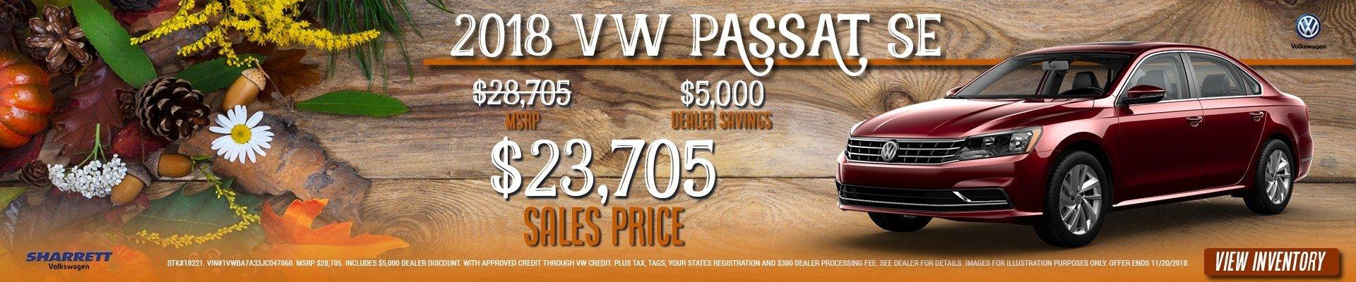 Get $5,000 off a new 2018 VW Passat –only $23,705 at Sharrett Volkswagen