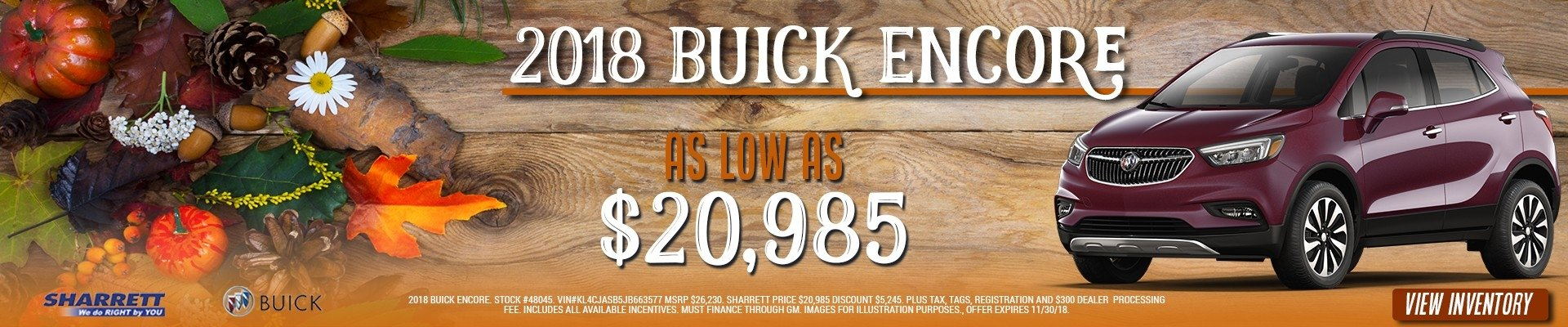 Get a new 2018 Buick Encore for as low as $20,985 at Sharrett Buick GMC