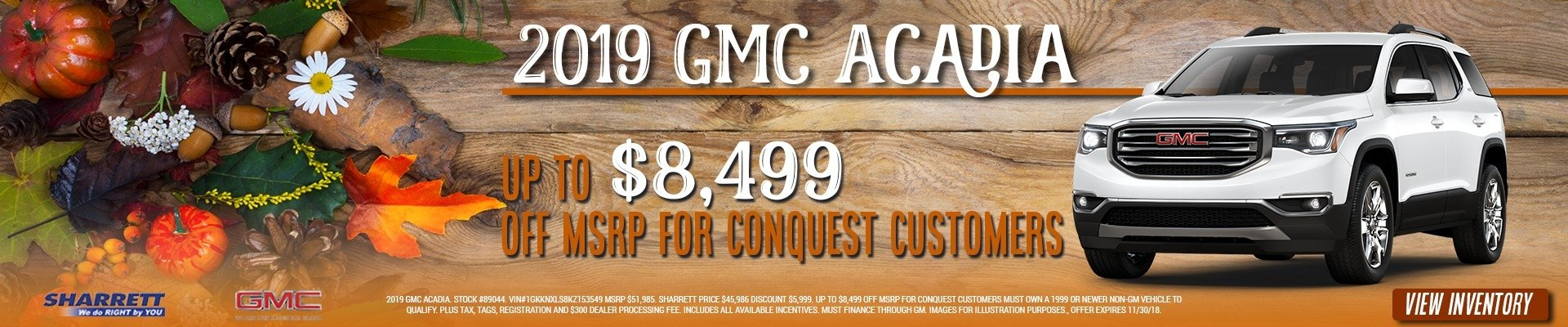 Get up to $8,499 off MSRP on a new 2019 GMC Acadia at Sharrett Buick GMC