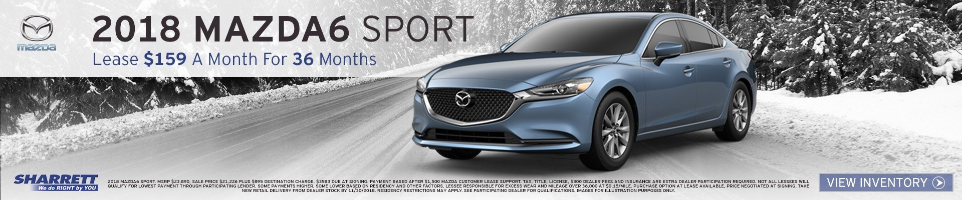 Lease a new 2018 Mazda6 for $159/mo for 36 months