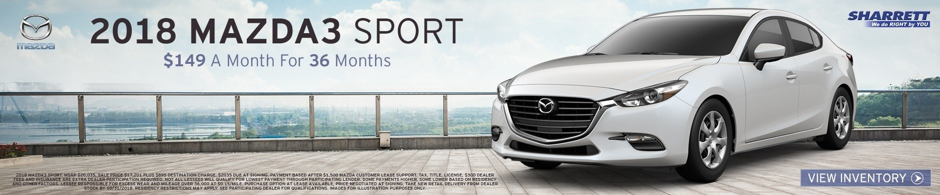Lease a 2018 Mazda3 Sport for $149/mo for 36 mos