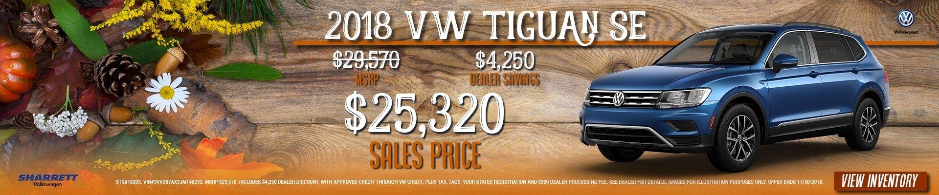 Get a new 2018 VW Tiguan for $25,320 –SAVE $4,250 at Sharrett Volkswagen