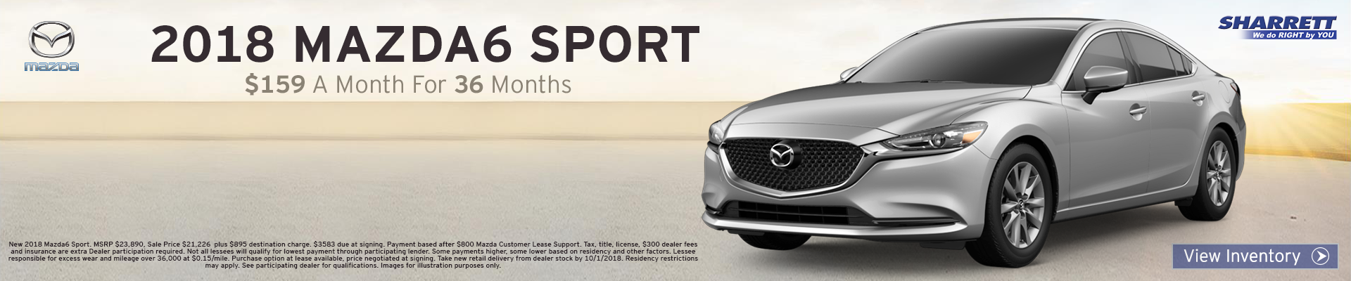 Lease a 2018 Mazda6 Sport for $159/mo for 36 months