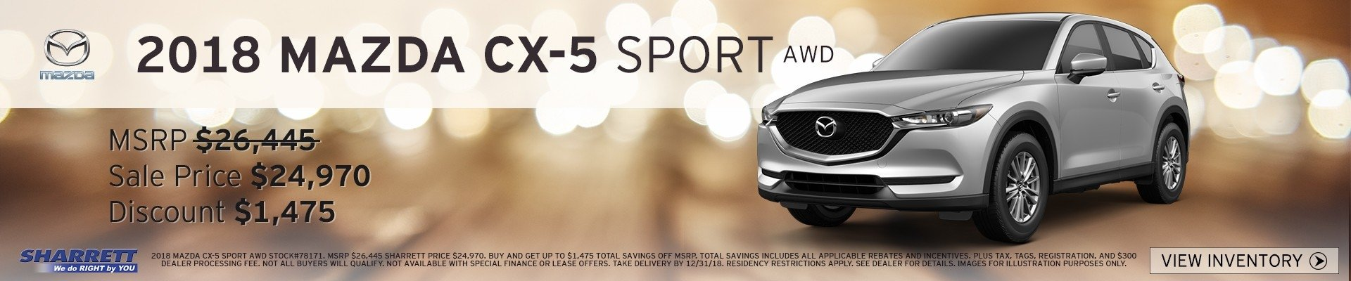 2018 Mazda CX-5 Sport up to $1,475 off MSRP