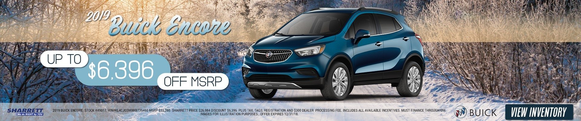 Up to $6,396 off MSRP on a 2019 Buick Encore