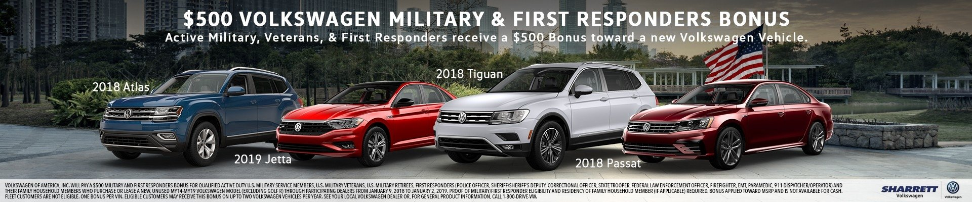 $500 VW Military & First Responders Bonus | Sharrett Volkswagen