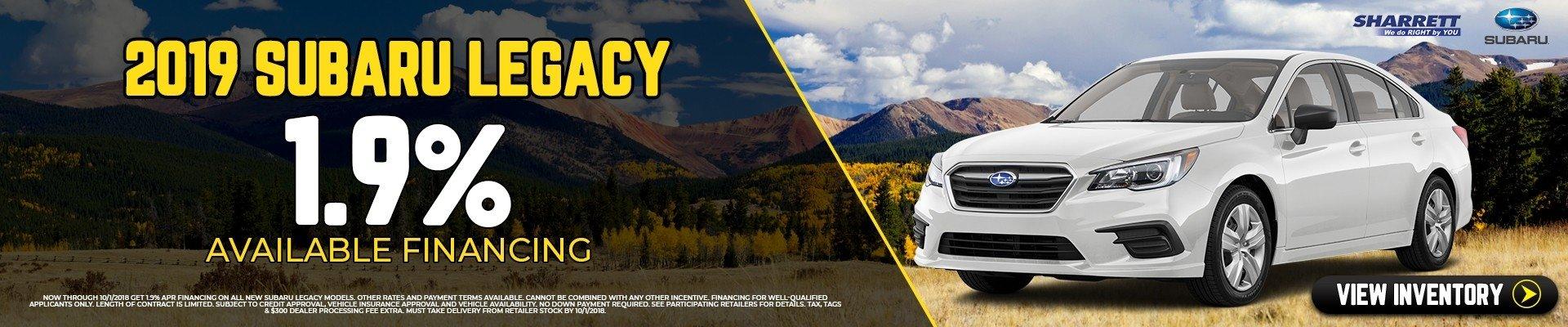 Get 1.9% financing on new 2019 Subaru Legacy | Sharrett Subaru