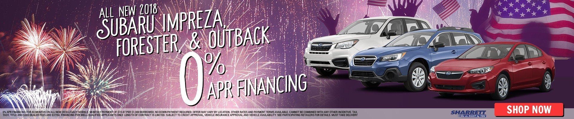 Get 0% APR Financing on all new 2018 Subaru Impreza, Forester, & Outback models