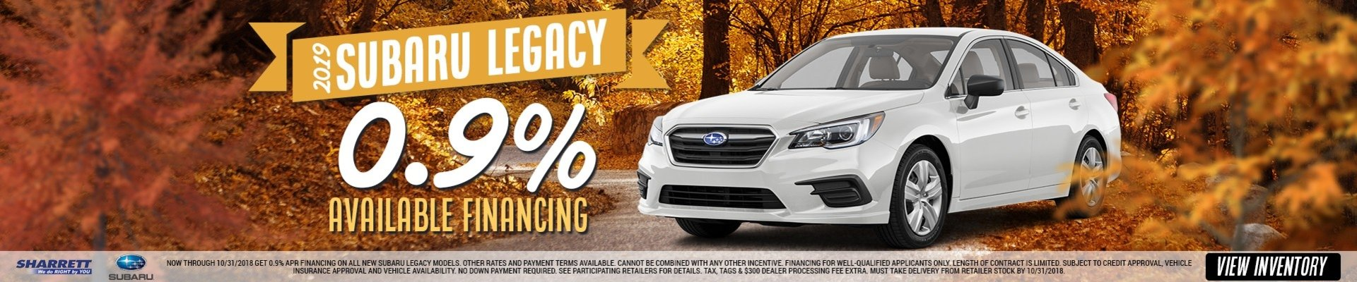 0.9% Available Financing on a 2019 Subaru Legacy